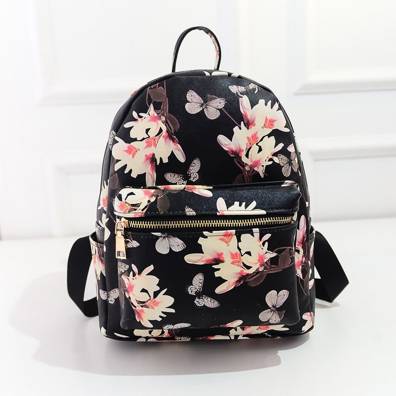 Women Leather Backpacks Printing Floral School Bags For Teenagers ...