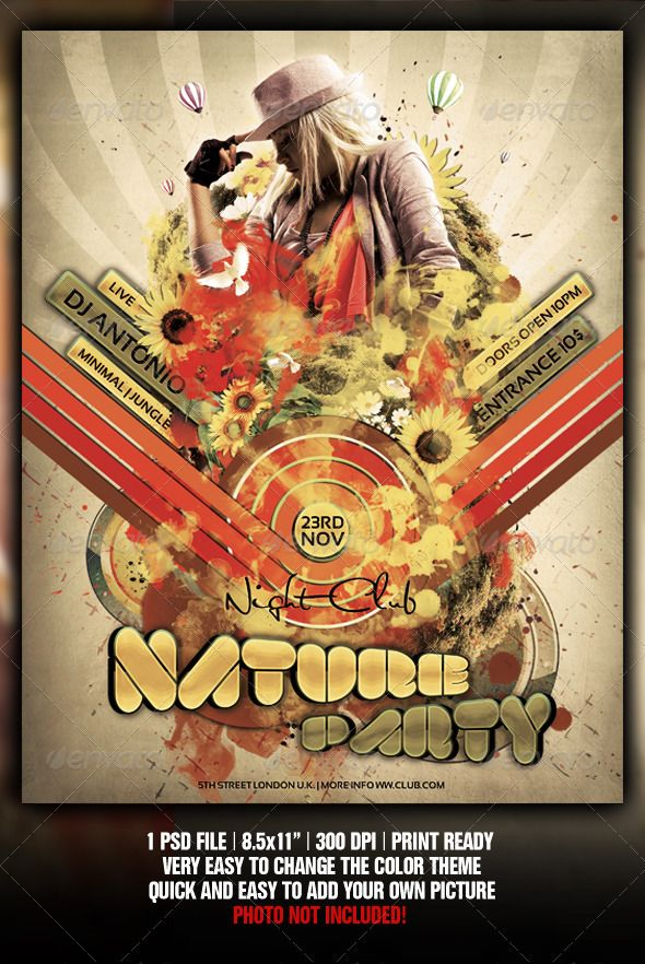 Retro Nature Party Flyer \/ Poster Template Party flyer, Template - retro flyer template