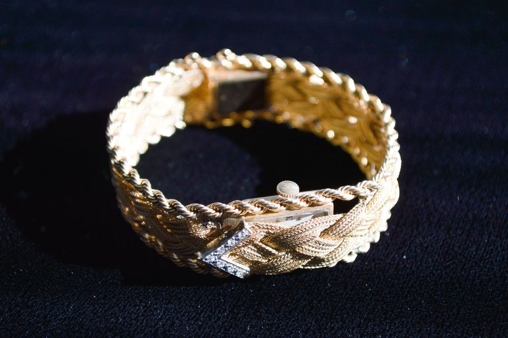Vintage 1950s 14k Gold /diamonds Women's herringbone