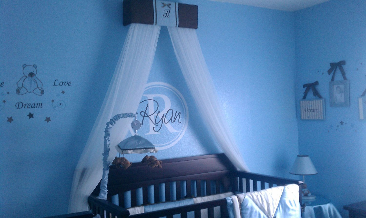 Boy Crib Crown Canopy Prince Brown Blue Padded Embroiderd Monogram