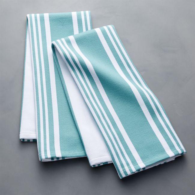 Cuisine Stripe Mineral Blue Dish Towels Set Of 2 Reviews Crate And Barrel Dishtowels Cuisine Stripe Mineral Blue Blue Dishes Dish Towels Crate And Barrel