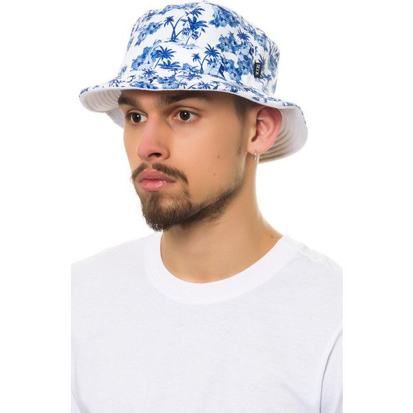 Rook The Aloha Floral Bucket Hat in White ( 30) ❤ liked on Polyvore  featuring mens 6b7f8ed67421