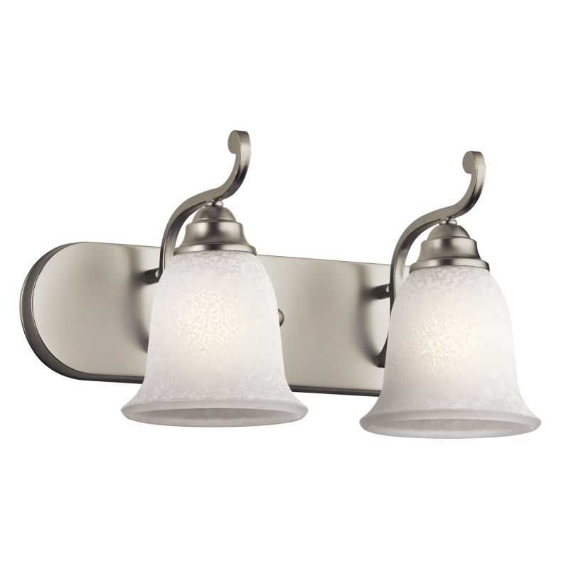 "Photo of Kichler 45422NI brushed nickel Camerena 18 ""wide 2-lamp bathroom light"