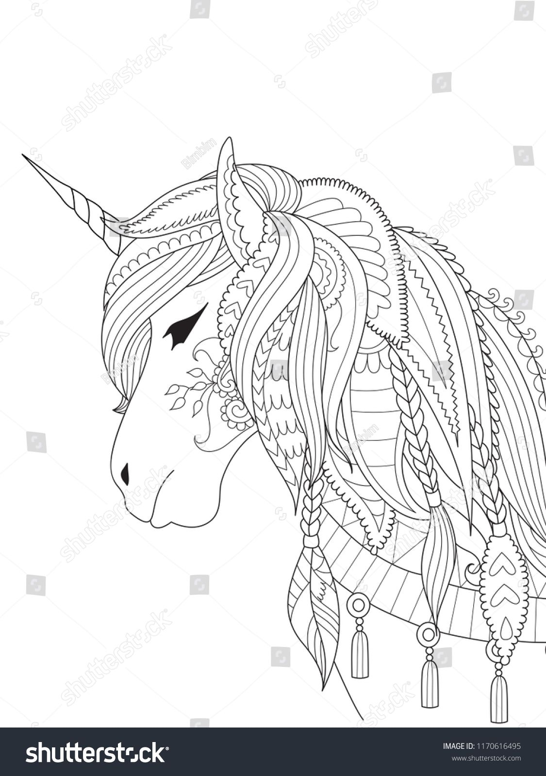 Simple Line Art Of Unicorn For Design Element And Coloring Book Page On App Vector Illustrationunicorn De Unicorn Coloring Pages Horse Coloring Pages Line Art