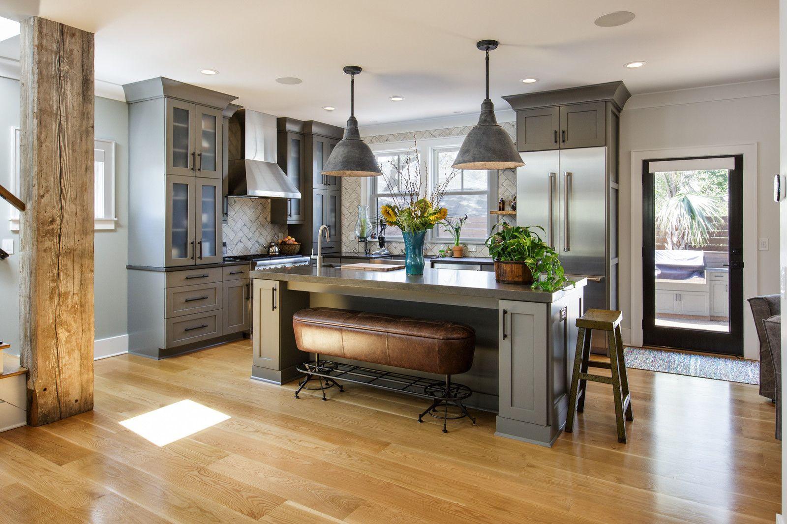 Eclectic l-shaped light wood floor and beige floor open ...