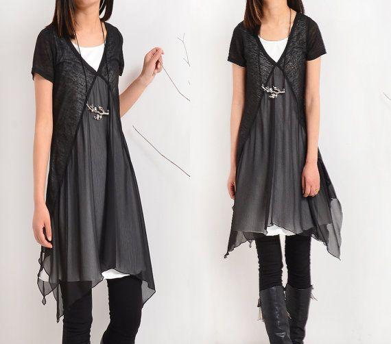 Items similar to Transparent Meditation - zen layered tunic dress (Q1505) on Etsy