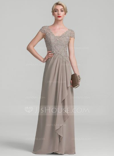 201f43bb7cd A-Line Princess V-neck Floor-Length Chiffon Lace Mother of the Bride Dress  With Beading Sequins Cascading Ruffles (008107665) - JJsHouse