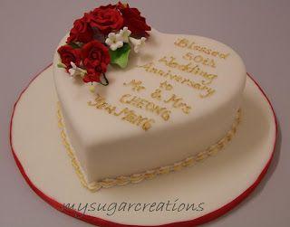 50th Wedding Anniversary Heart Shape Cake Wedding Anniversary