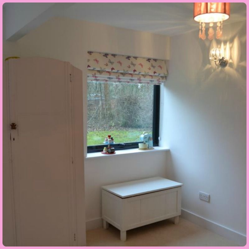 Laura Ashley Butterflies For The Roman Blind In This Little Girlsu0027 Pale  Pink Palace.