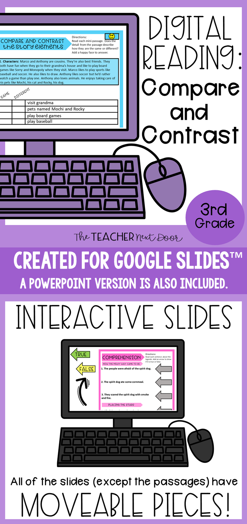 Compare And Contrast Digital Reading For Google Slides Distance Learning Digital Reading Reading Comprehension Informational Text Structures [ 1728 x 816 Pixel ]