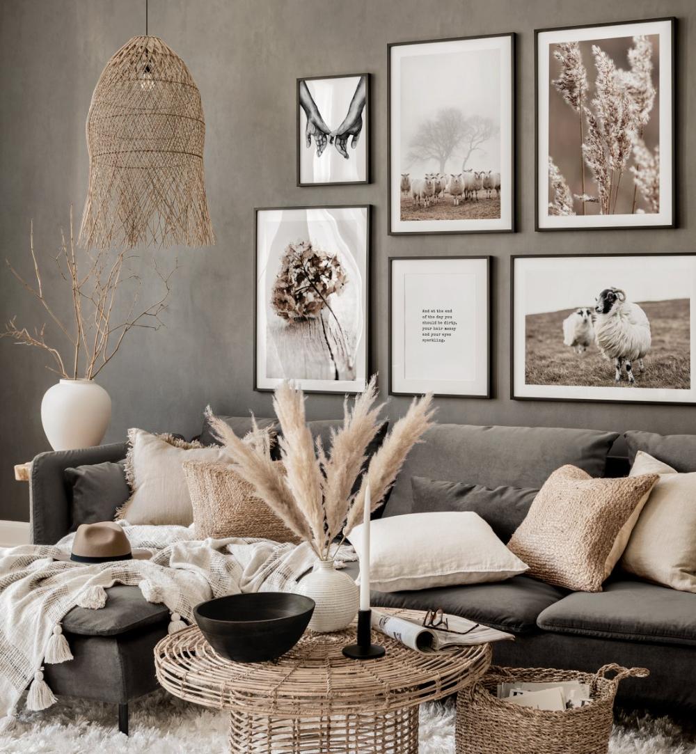 Herbstliche braune Bilderwand Naturposter braun grau Wohnzimmer