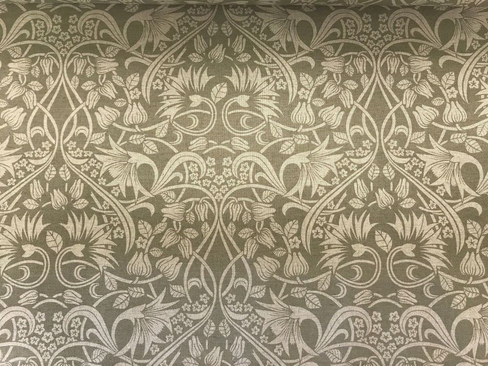 Art Nouveau Morris Linen Mouse Grey Curtain Craft Upholstery Fabric