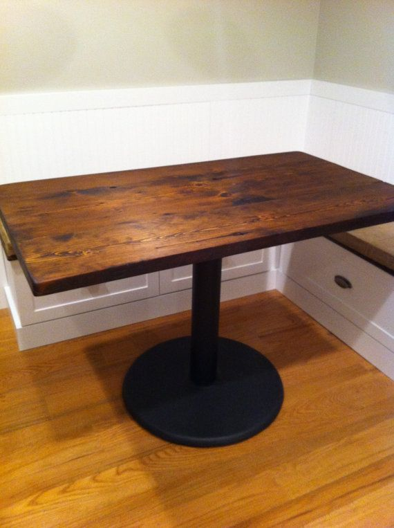 Custom made pedestal dining cafe table reclaimed wood very for Really cool dining tables