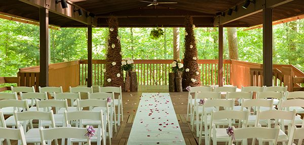 Wedding Ceremony in Treetop Pavilion Inn at Honey Run Millersburg