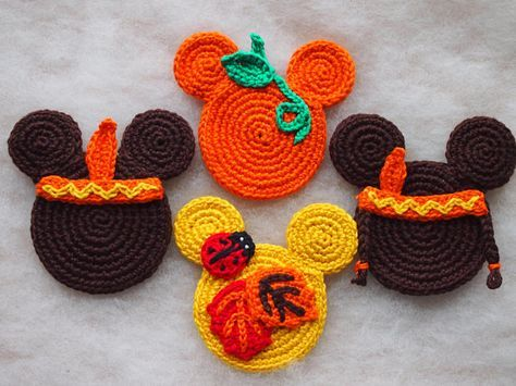 Mickey Mouse Minnie Mouse crochet pattern, Autumn Ornament, The ...