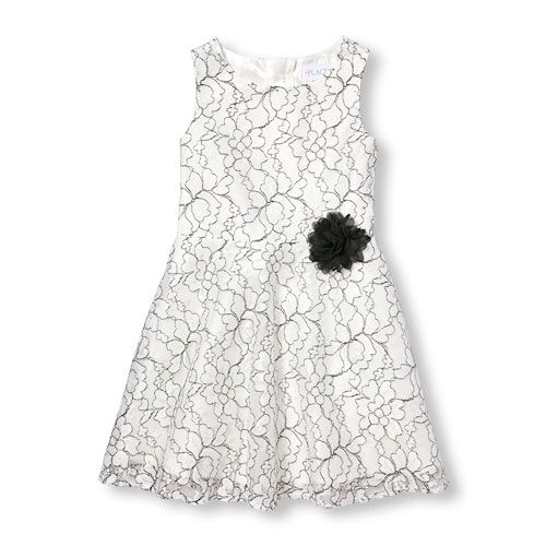 f48da16357 Girls Sleeveless Floral Lace Dress - White - The Children s Place ...