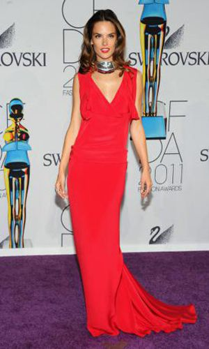 Celeb Dresses Alessandra Ambrosie Red Long Evening Gown Cfda Awards