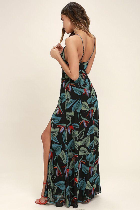 Birds Of Paradise Black Floral Print Maxi Dress Cute Floral Dresses Printed Maxi Dress Floral Print Maxi Dress