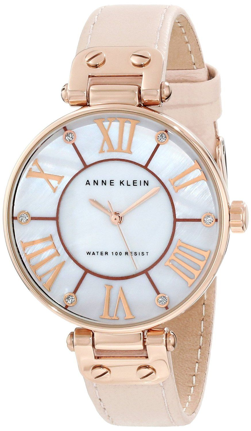 0f905e59ee6 Anne Klein Women s 10 9918RGLP Leather Rosegold-Tone Pink Leather Strap  Watch