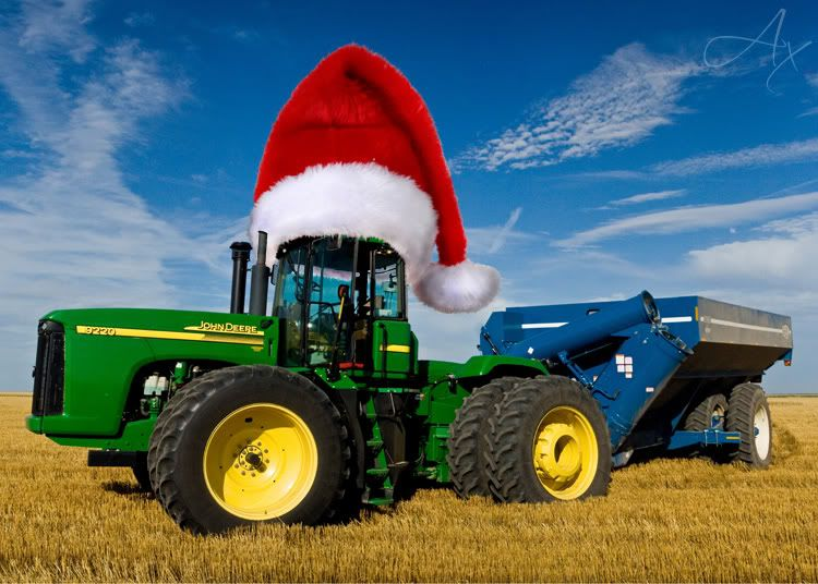 60f4df33d4030 Nothing like a green John Deere Tractor sporting a big Santa hat. Merry  Christmas to all and to all a good harvest.