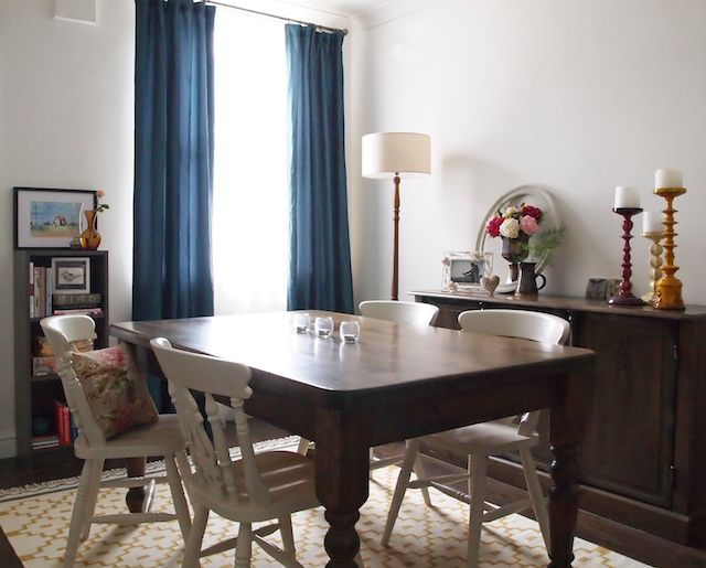 Eclectic Dining Room Blue Curtains Dark Stained Vintage Farmhouse Table Painted