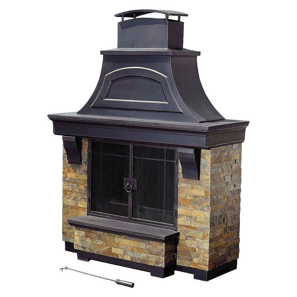 Sunjoy hearthstone fireplace black products