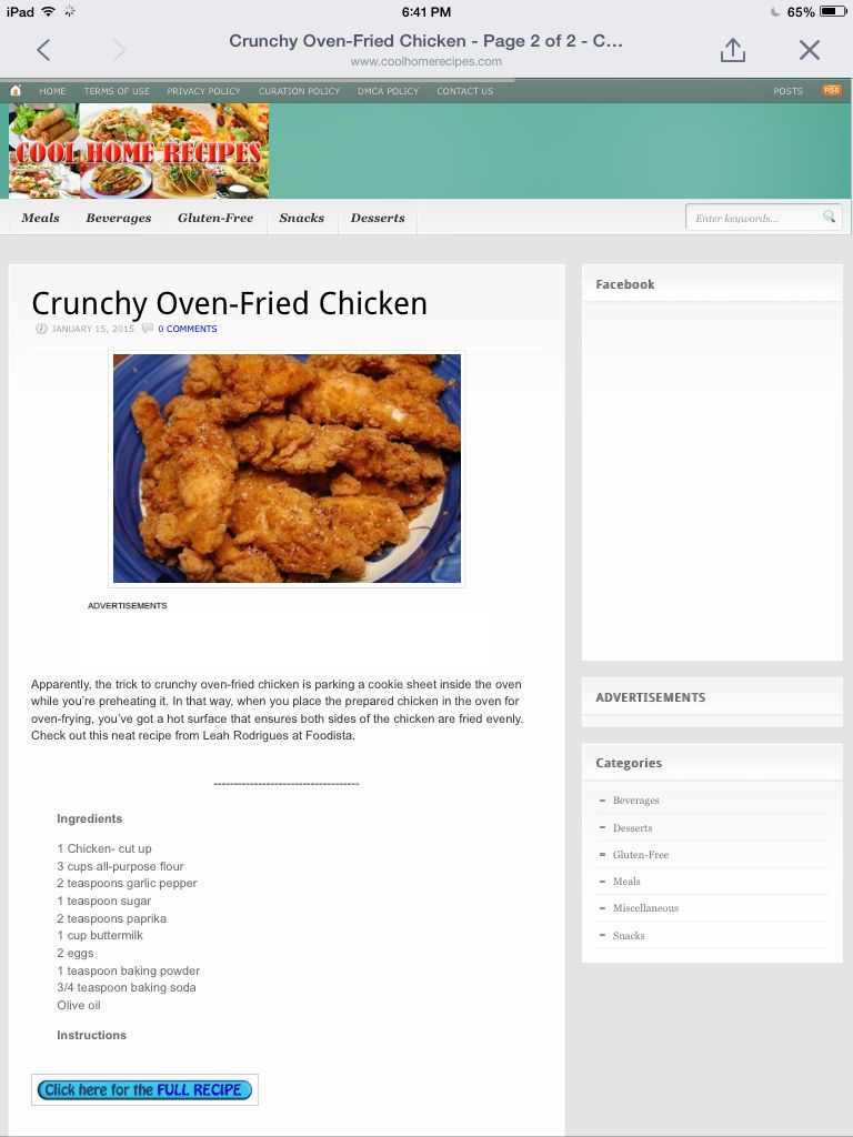 Crunchy oven fried chicken