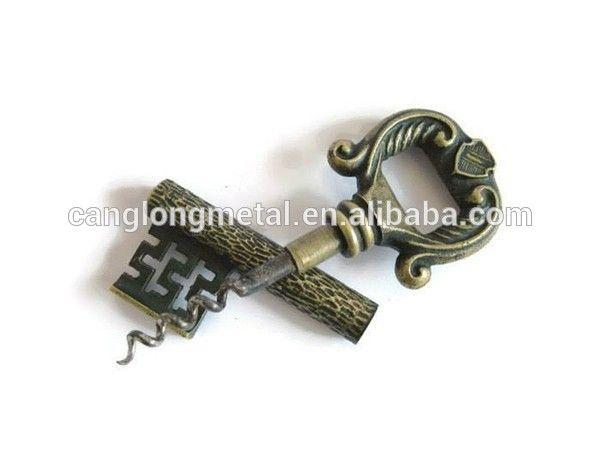 Solid Metal Brass Vintage Skeleton Key Corkscrew Wine Bottle Opener Solid Metal Wine Bottle Opener Vintage Skeleton Keys