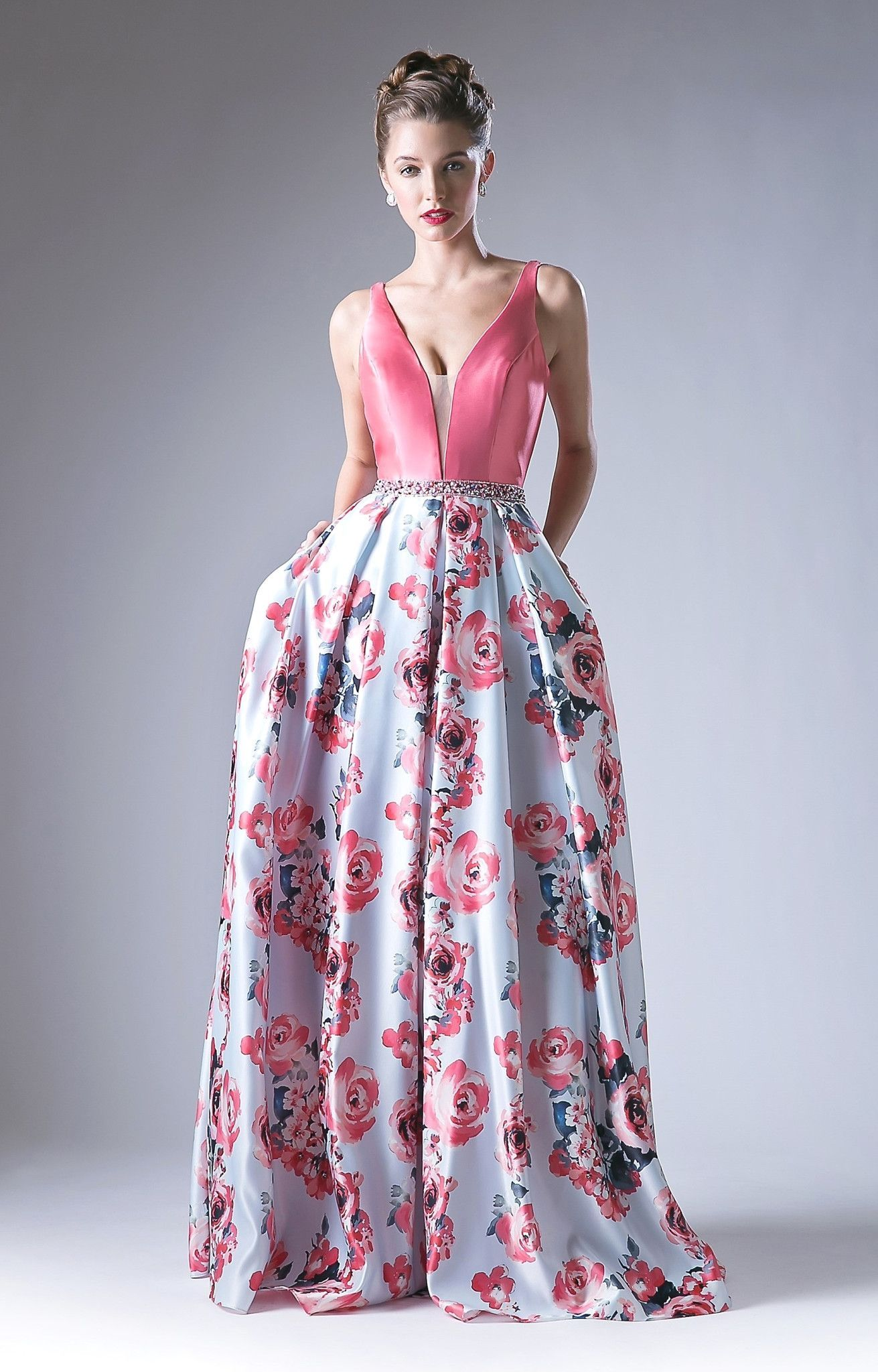 Pink vneck dress with long floral print skirt by cinderella divine