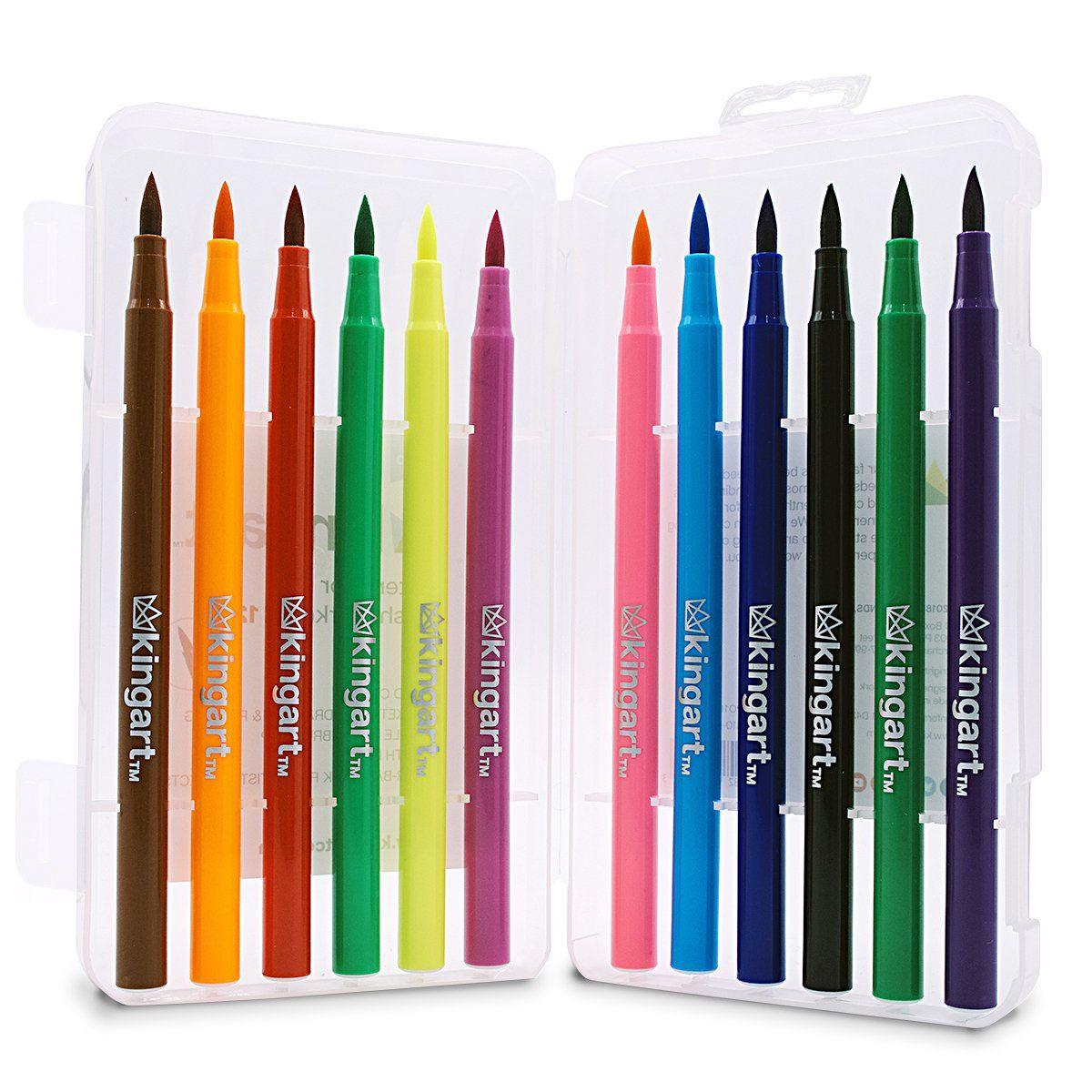 Kingart Watercolor Brush Tip Markers Set Of 12 Colors Brush
