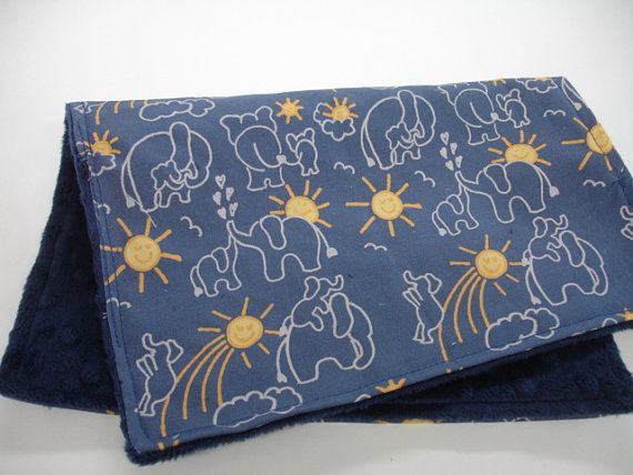 You Are My Sunshine Elephants in Navy Blue  Baby Burp Cloth on Etsy, $6.50