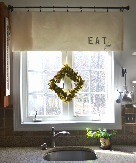Down To Earth Style: { Eat Fresh } Kitchen Valance Like The Mug Hooks!