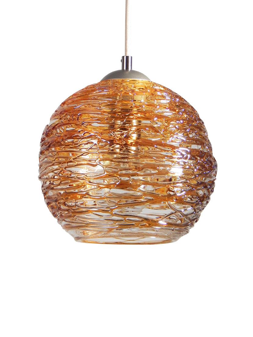 Spun Gl Globe Pendant Light In Gold By Rebecca Zhukov