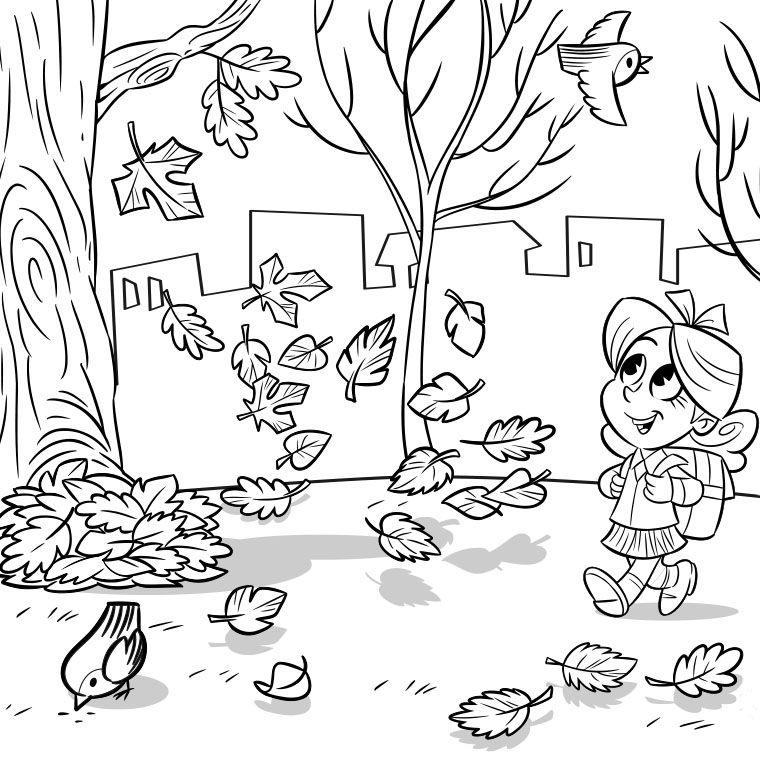 Coloriage d 39 automne pinteres - Dessin d automne facile ...