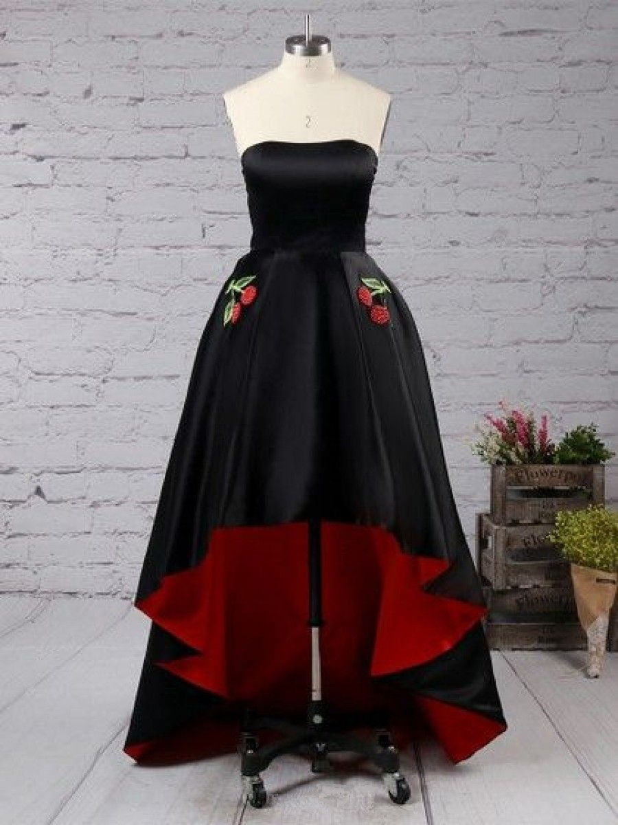 High low strapless black red prom homecoming cocktail graduation