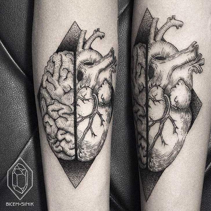 Si Te Gustan Los Tatuajes Y Eres Un Perfeccionista Enloqueceras Con Estos Increibles Disenos Tatuajes Geometricos Tatuaje Cerebro Tatuajes