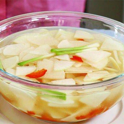"""Water""""Mool"""" Kimchi with Asian Turnip #Recipe on yingandyangliving.com &  a favorite of mine during the #summer months! #recipes #recipeshare #video #videos #videorecipe #asianfood #asianfoodrecipes #instarecipe #vegan #veganfoodshare #veganrecipes #vegetarian #vegetarianrecipes #vegetarianfoodshare #asianturnip #kimchi #redbellpepper #scallions #garlic #healthyrecipe #MoonCho #yingyangliving #yingandyangliving"""