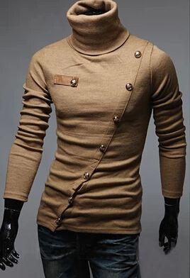 Primavera   otoño de manga larga Polos de moda botones decoración para  hombres Slim fit cuello alto camisas de POLO del algodón en Polos de Moda y  ... 1cd5a4f97716