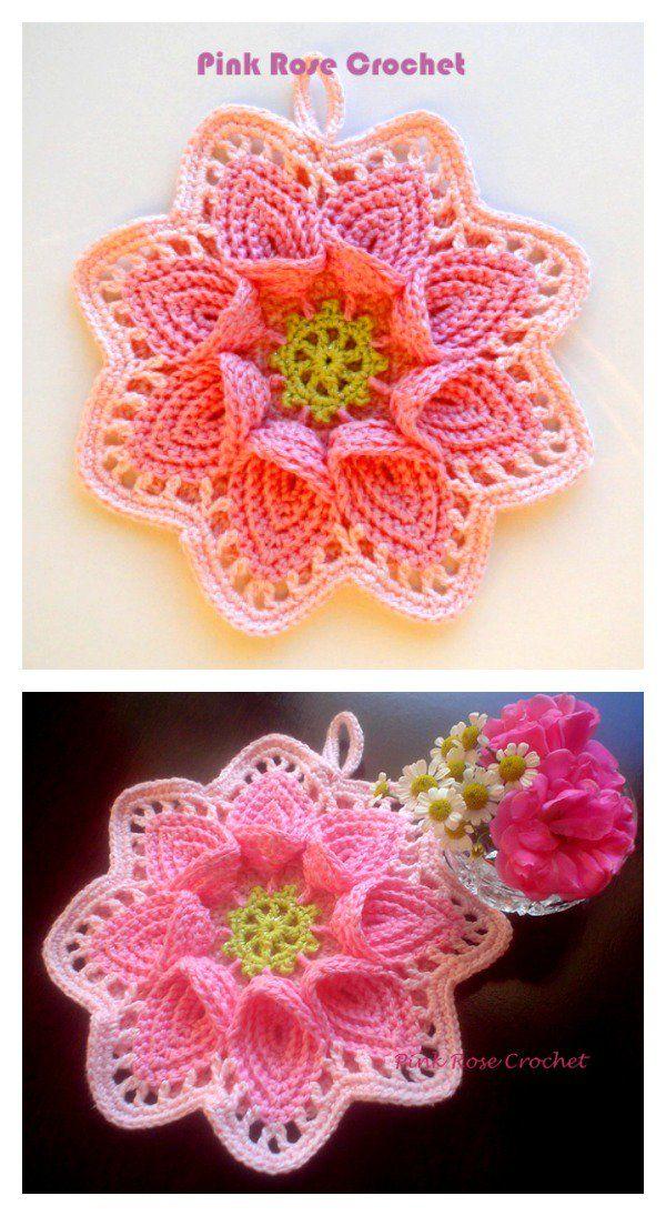 Calla Lily Flower Potholder Free Crochet Pattern | Häkeln ...