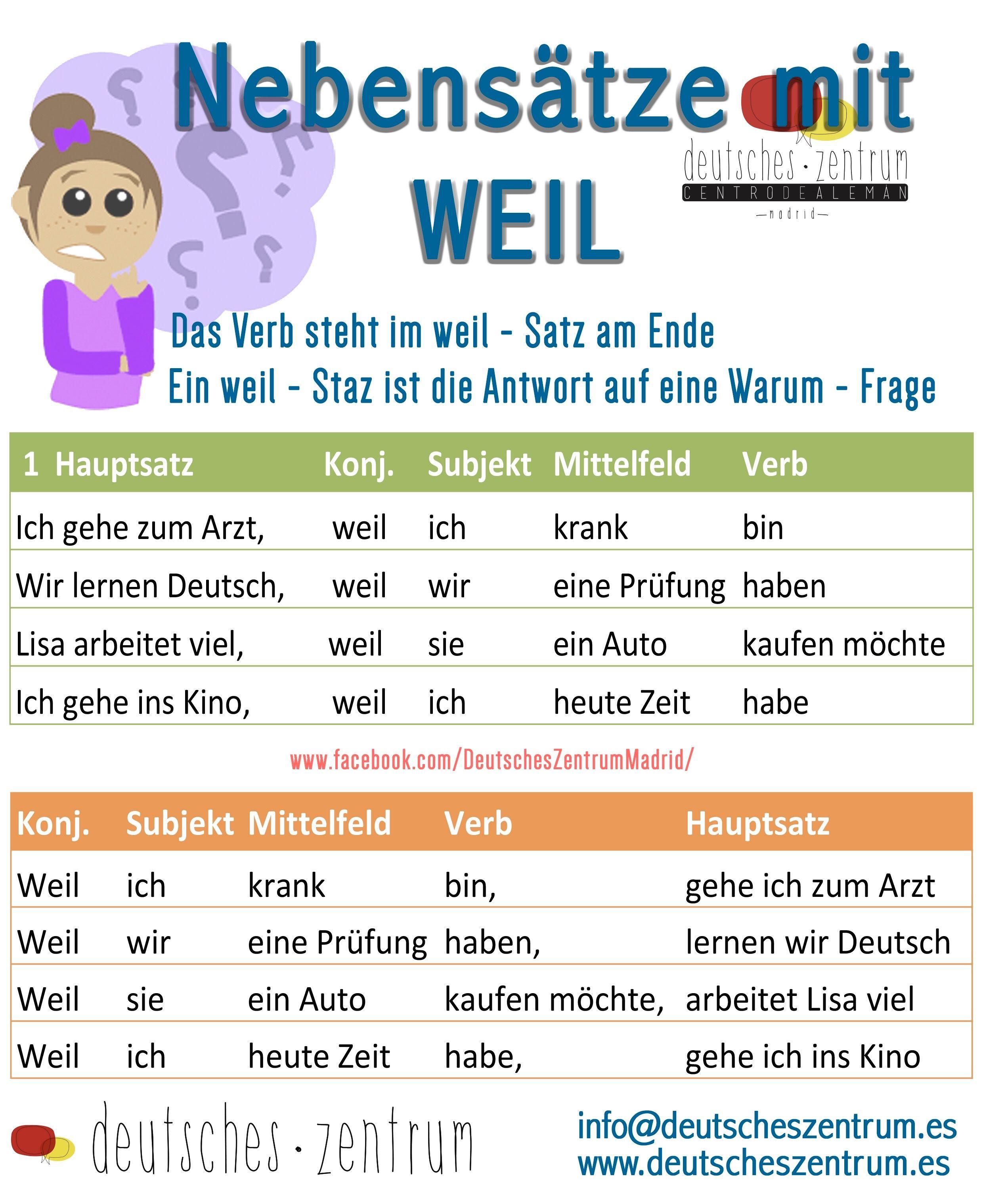 nebens228tze mit weil deutsch wortschatz grammatik german