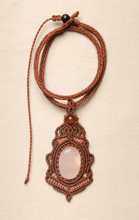 Macrame Rose Quartz Pendant Necklace Gemstone Vintage by Amonithe