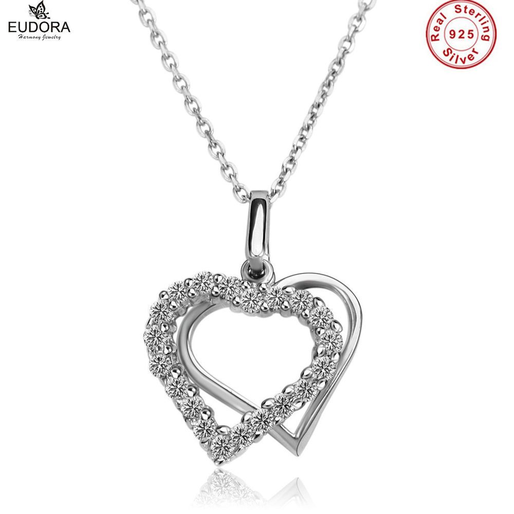 Rose Gold Heart Pendant 925 Sterling Silver Chain Necklace Womens Jewellery Gift