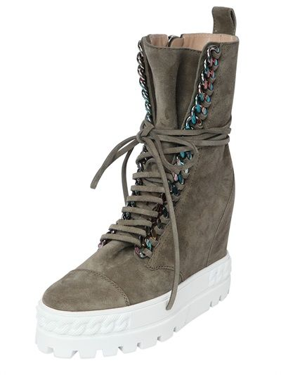 110MM SUEDE WEDGE SNEAKERS W/ CHAIN TRIM