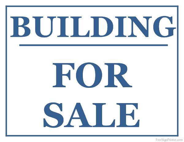 Printable Building For Sale Sign For Sale Signs Pinterest - free for sale signs for cars