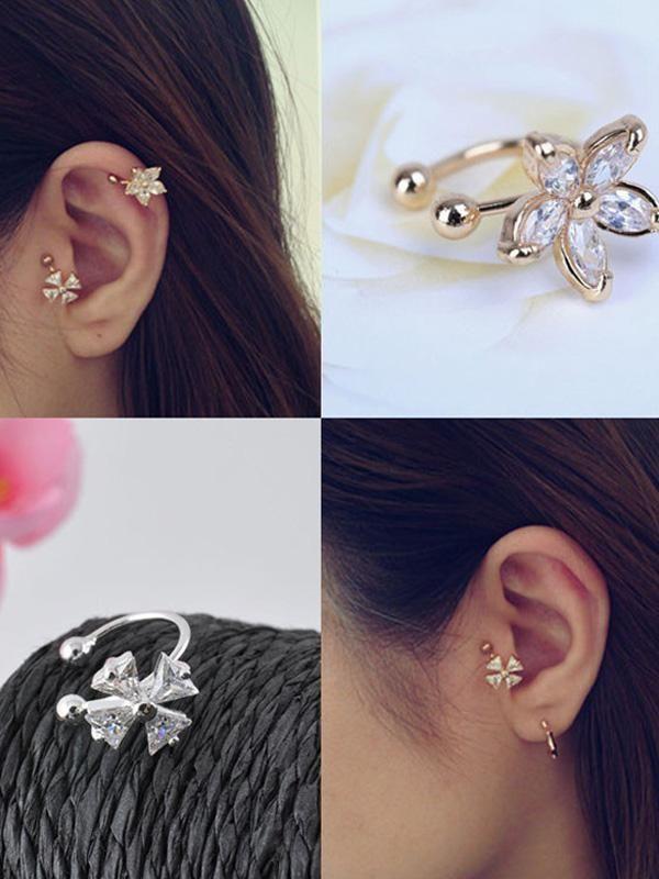 Nice Single Clover Crystal Flower Gold Silver Ear Cuff Earring Wrap Clip Earrings
