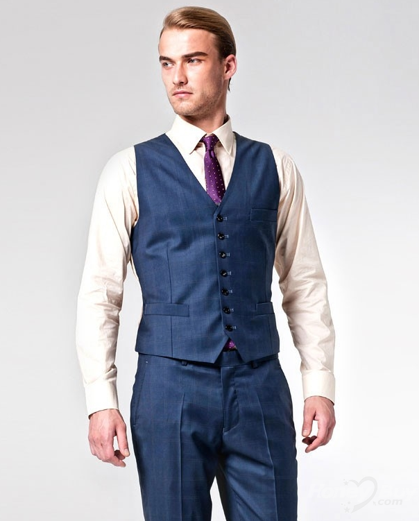 Navy Modern Classic Tailor Made Mens Suits Vest Online Stores | 8 ...