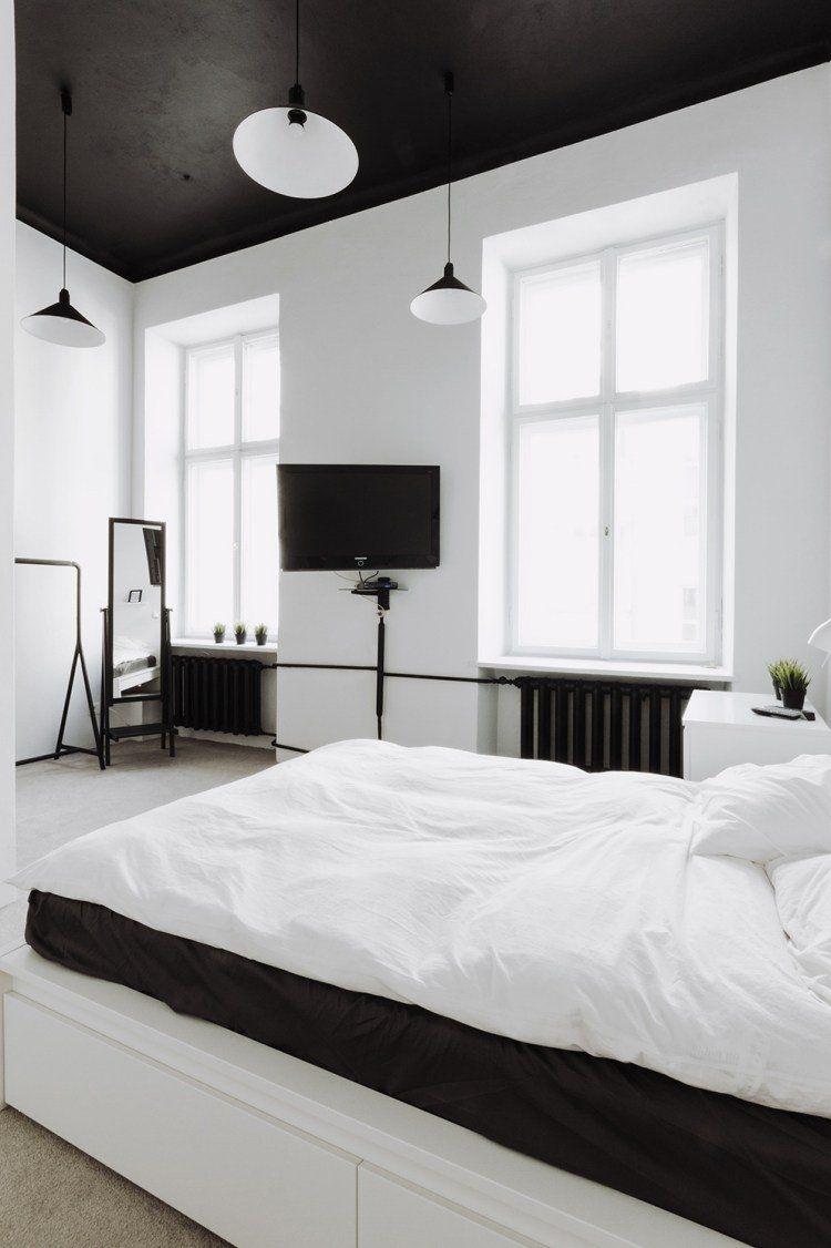 design de la chambre blanche et noire moderne plafond noir
