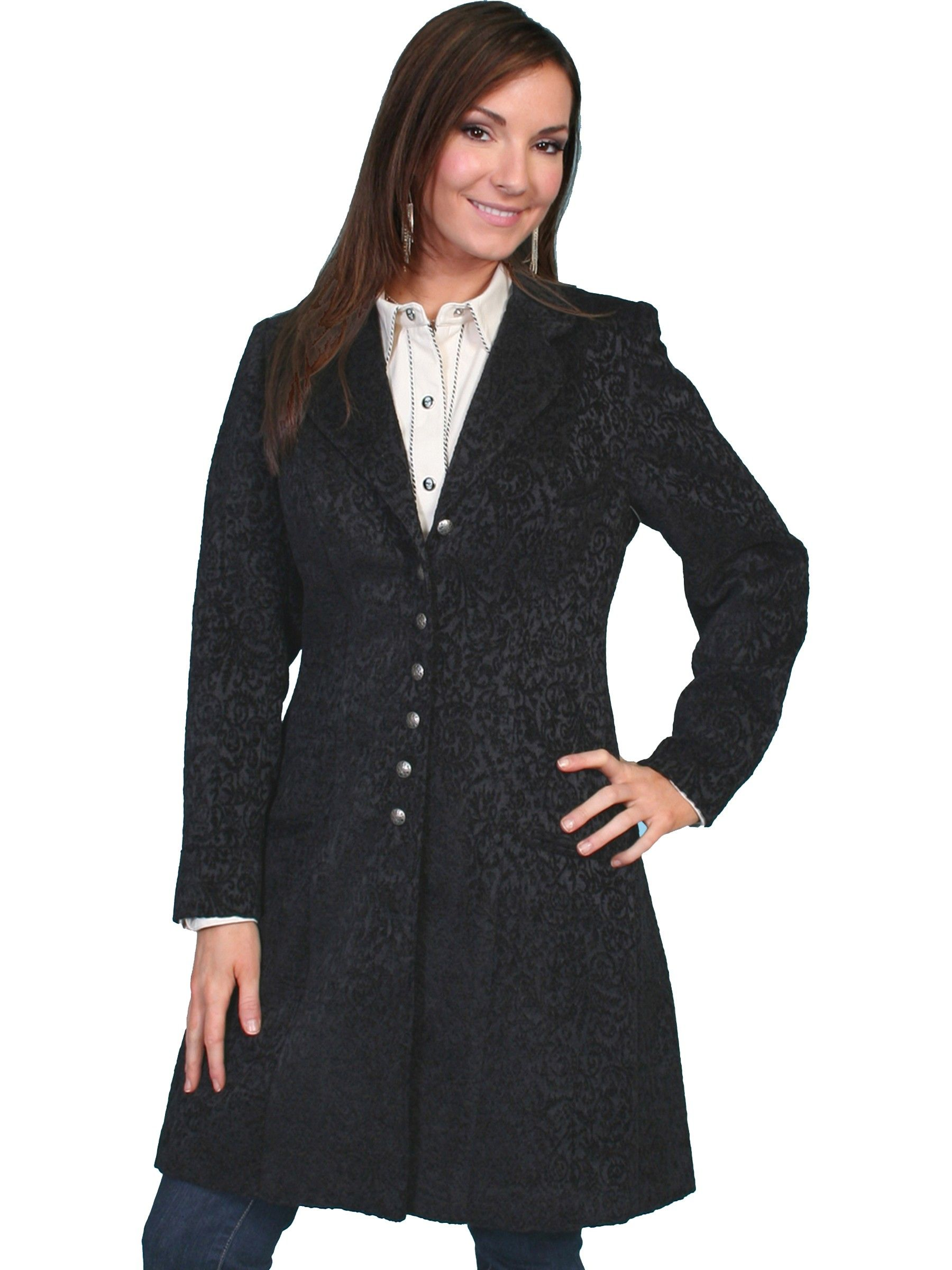 Western Style Chenille Frock Coat In Black Clothes Frock For Women Western Fashion [ 2400 x 1800 Pixel ]
