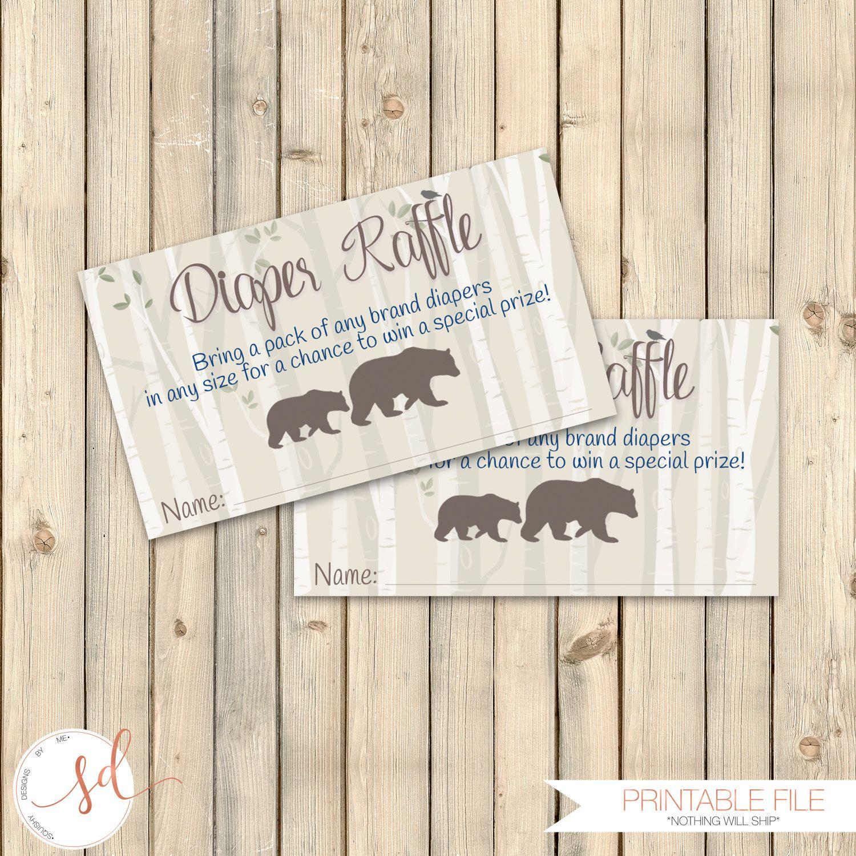 Woodlands Diaper Raffle Card, Rustic Baby Shower Insert, Diaper Raffle