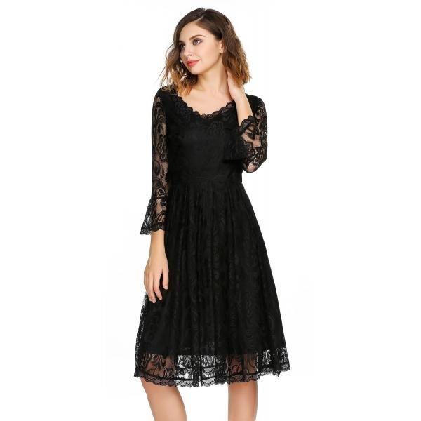 Dresslink - Dresslink Black 3/4 Flare Sleeve Floral Lace V-Neck Cocktail Evening Dress - AdoreWe.com